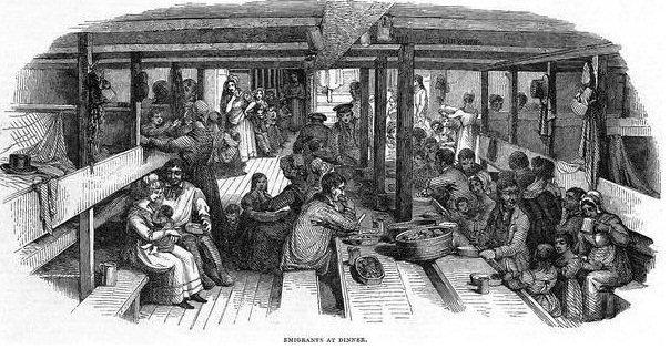 Emigrants at dinner